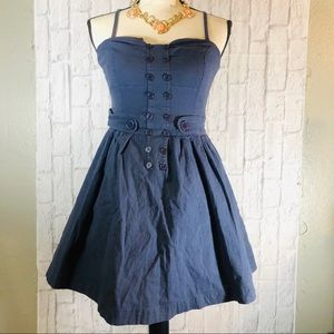 ARK & CO Denim Pin-Up Sailor Corset Pleated Dress